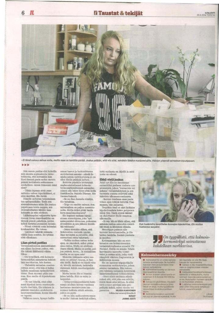 Iltalehti: Elämää kivun kanssa Teksti: Hilkka Karvonen Kuva: Jarmo Juuti