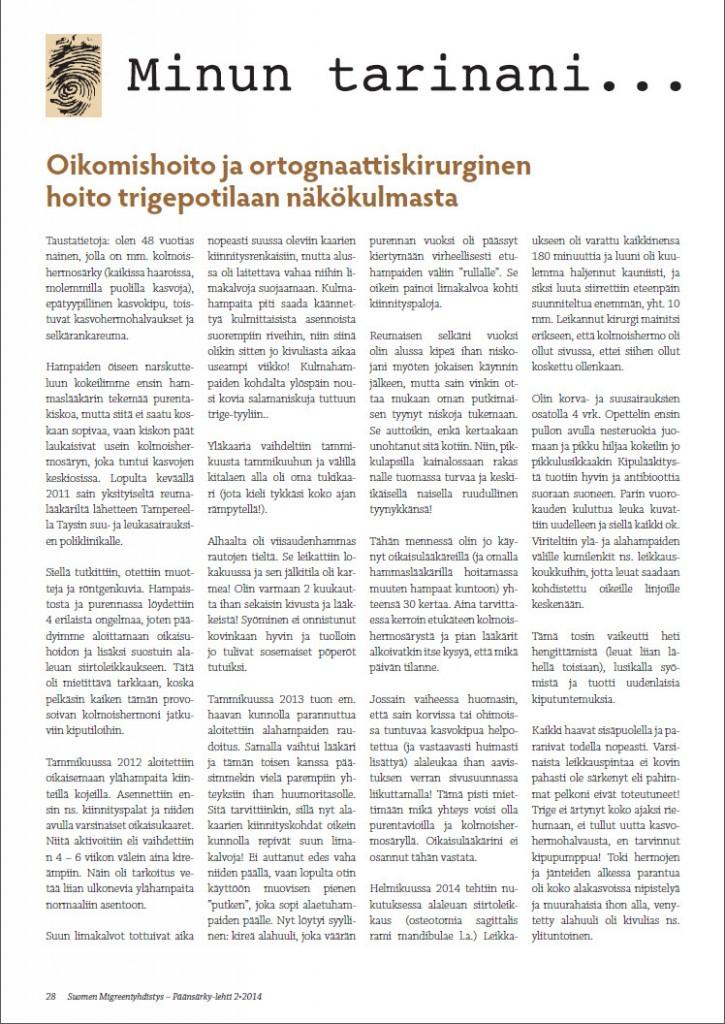 Suomen Migreeniyhdistys Päänsärky-lehti 2-2014